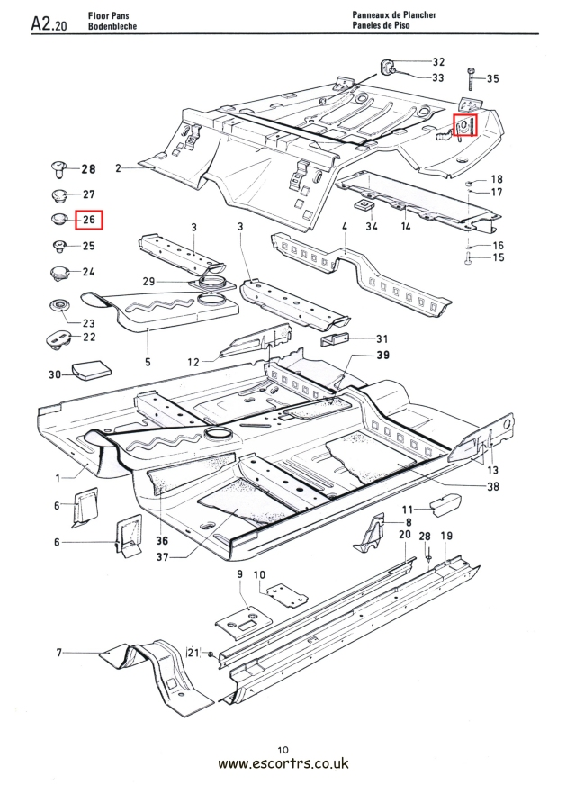 Mk1 & Mk2 Escort Rear Spring Hanger Access Grommets Factory Drawing #1