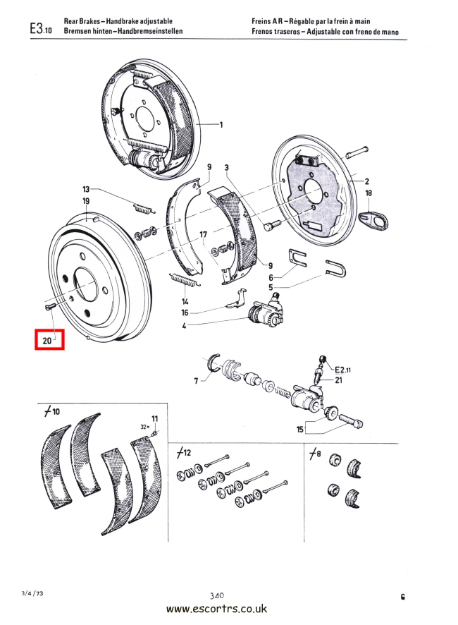Mk1 Escort Brake Drum Screws Factory Drawing #1