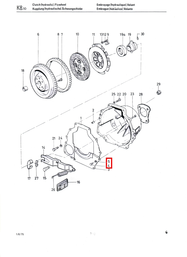 Clutch Cover Bolts & Washers Factory Drawing#1