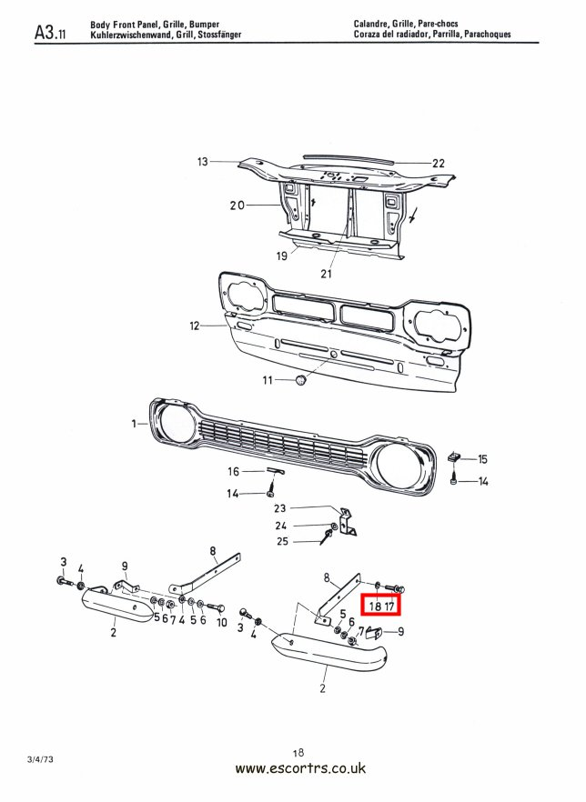Mk1 Escort Front Bumper Iron Bolts Factory Drawing#1