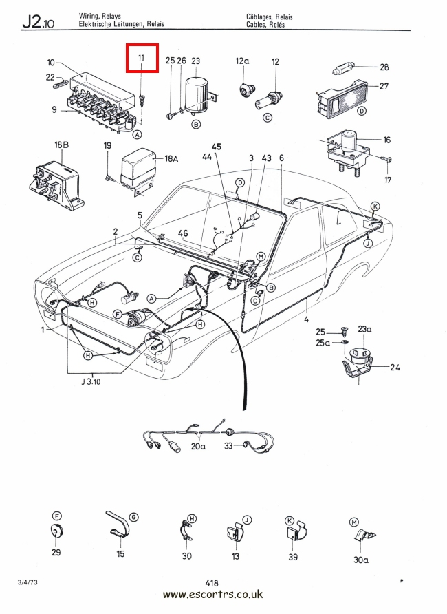 Mk1 Escort Fuse Box Screws Factory Drawing #1