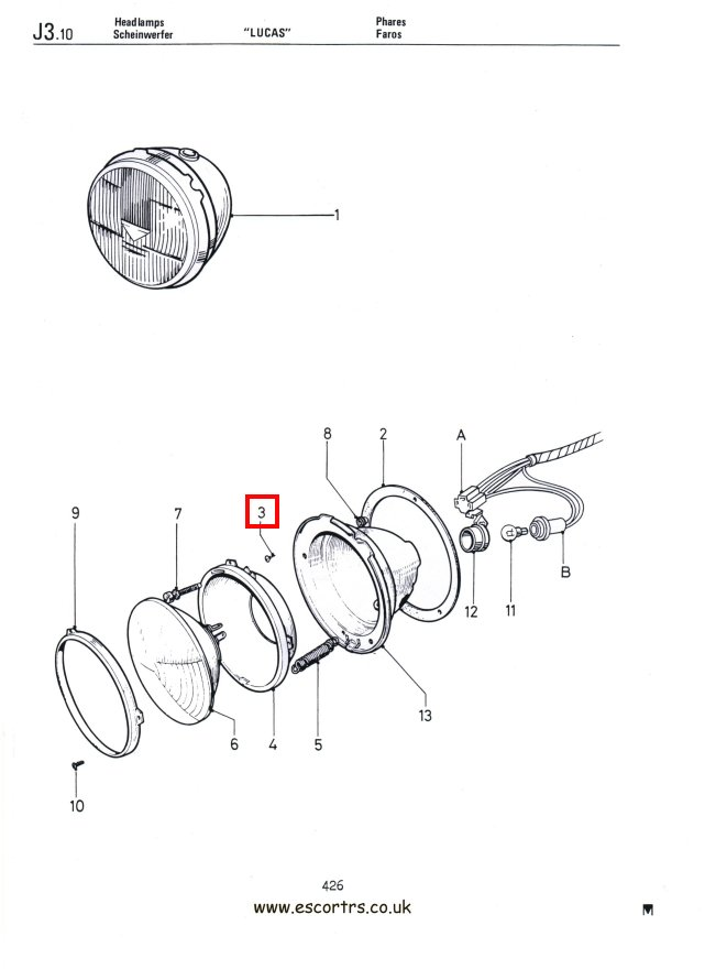 Mk1 Escort Headlight Bowl Fixing Screws Factory Drawing #1