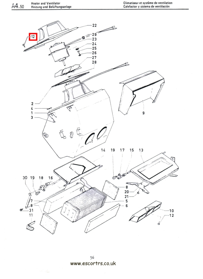 Mk1 Escort Heater Plate & Cowl Assembly Screws Factory Drawing #1
