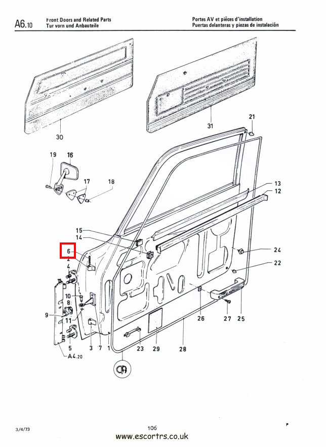Mk1 & Mk2 Escort Door Hinge Pins Factory Drawing #1