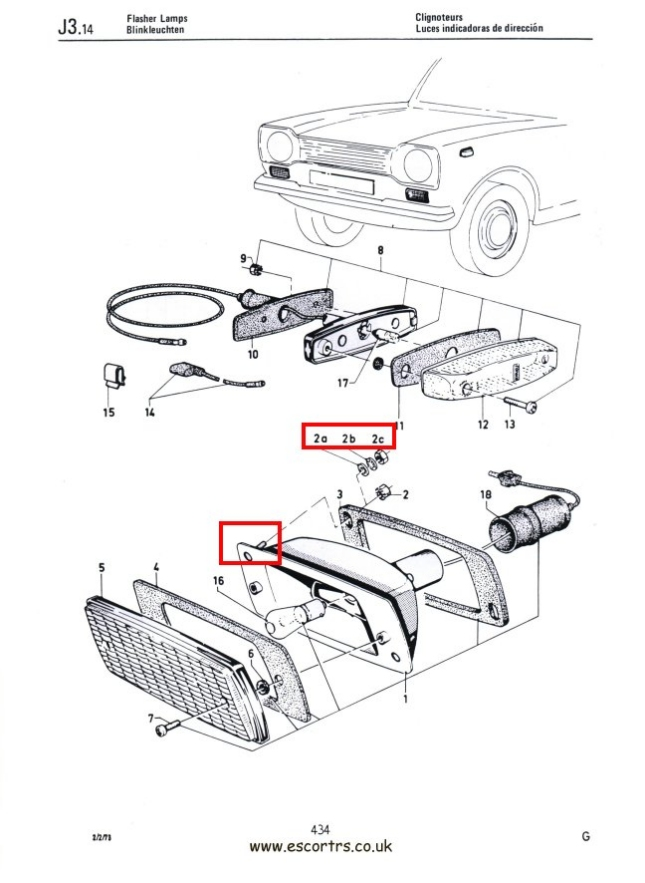 Mk1 Escort Front Indicator Body Screw Set Factory Drawing #1