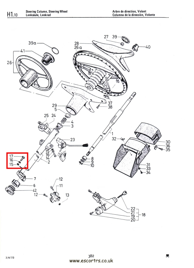 Mk1 Escort Lower Steering Column To Bulkhead Bolts Factory Drawing #1