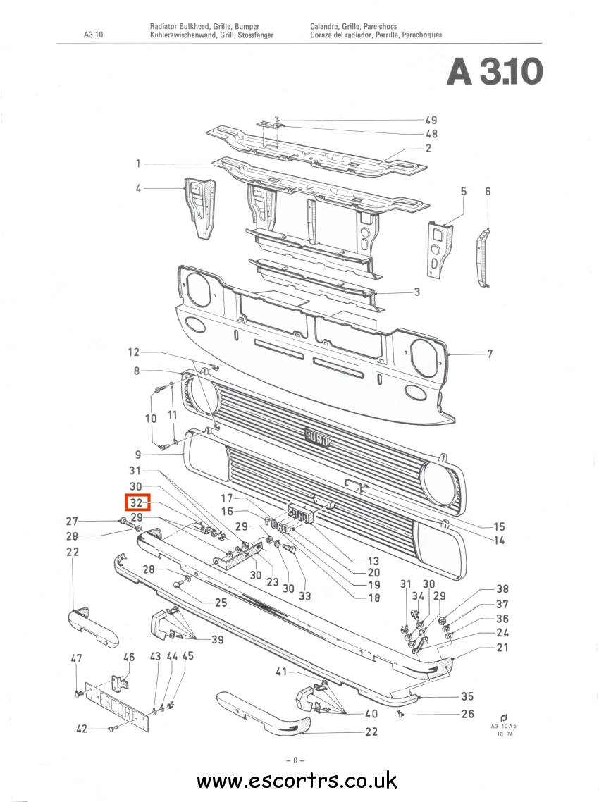 Mk2 Escort Front Bumper Spacers Factory Drawing #1