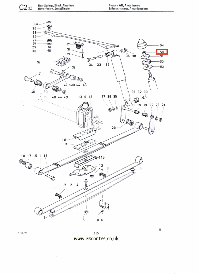 Mk1 Escort Rear Shock Absorber Top Nuts Factory Drawing #1