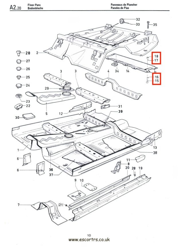 Mk1 Escort Stone Deflector Bolts Factory Drawing #1