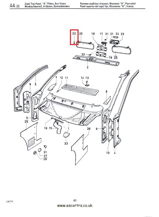 Mk1 Escort Sun Visor Fixings Factory Drawing #1