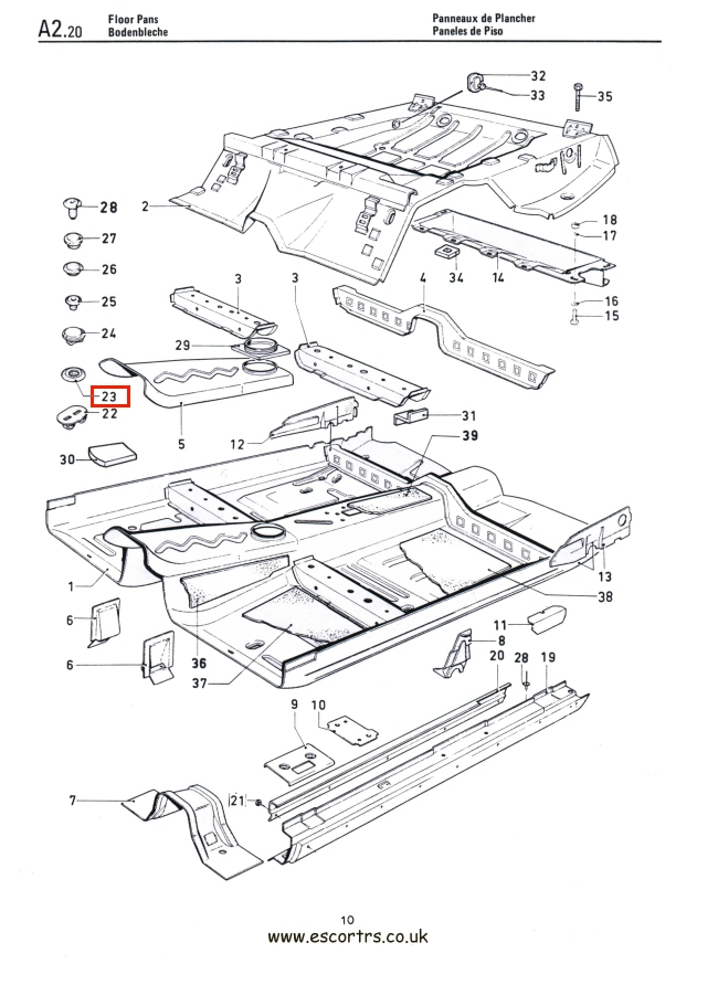 Mk1 Escort Floor Pan Gromets Factory Drawing #1