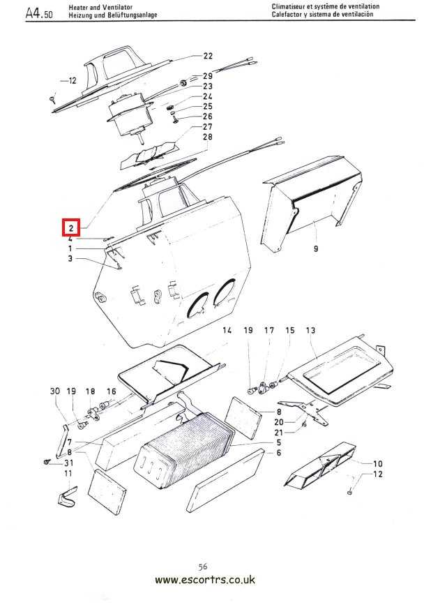 Mk1 Escort Heater Box Seal Factory Drawing #1