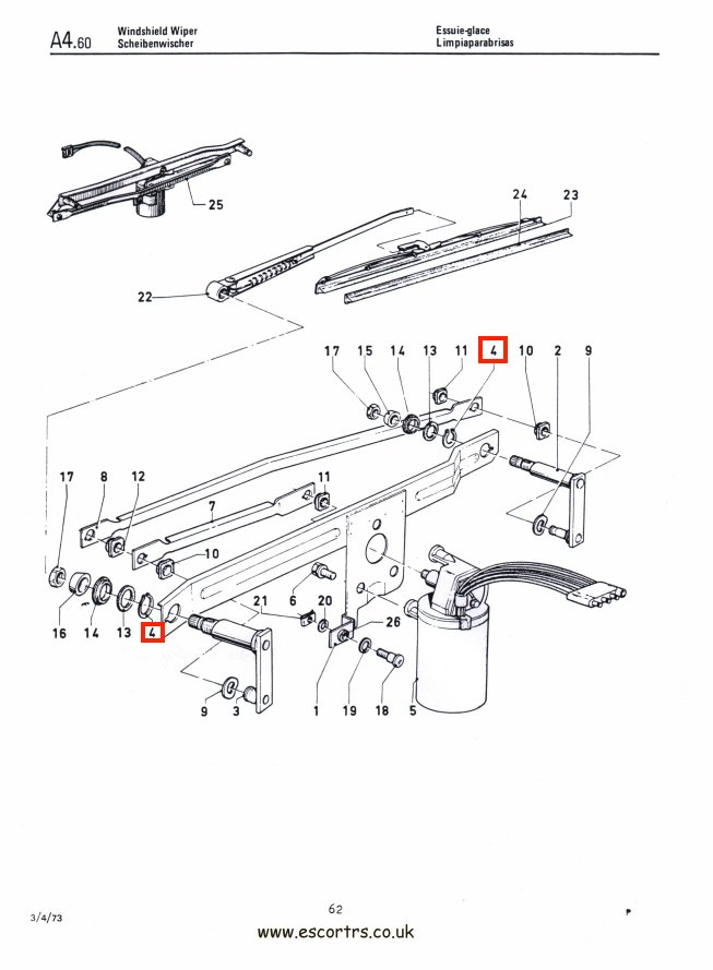 MK2 Escort Wiper Spindle Circlips Factory Drawing #1